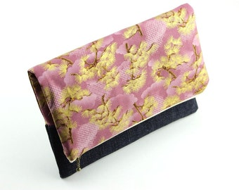 OOAK Fold Over Clutch, Mother's Day Gift Idea Under 25, Kimono Cotton Fabric Dragon Pine Wood Light Purple