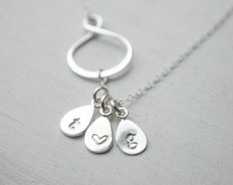 Silver Initial Necklace | Sterling Silver | Sideways Eternity Infinity Pendant - Monogram | 1 2 3 4 5 6 Initials | Personalized Jewelry