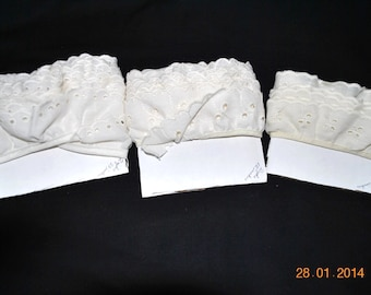 Over 5 Yards of 3 Different Ivory Eyelet