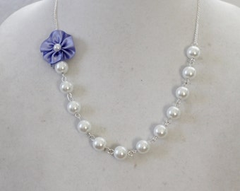 White Pearl and Lilac Flower Necklace