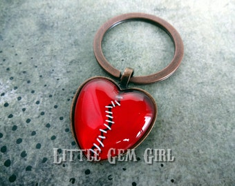 Valentines Day Stitched Broken Heart Jewelry - Key Chain or Necklace - Red Gothic - MANY Custom Choices