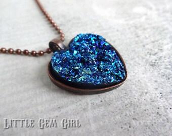 ON SALE Blue Druzy Quartz Heart Necklace - Mermaid Pendant - Blue Crystal Galaxy Necklace Bridesmaid Bridal Wedding Blue Crystal Heart Charm