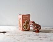 Happy Easter Wind-up Bunny Rabbit Tin Toy Japan Litho Vintage Easter Bunny Vintage Rabbit Vintage Metal Rabbit