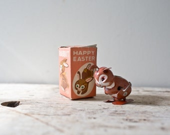 Happy Easter Wind-up Bunny Rabbit Tin Toy Japan Litho Vintage Easter Bunny Vintage Rabbit Vintage Metal Rabbit