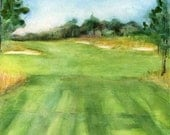 Custom Golf Course Watercolor Art Composition Block Mounted Painting inspired by Supplied Digital Photos by Erica Dale Strzepek