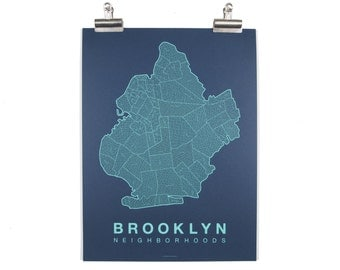 Brooklyn Neighborhood Map - Teal on Navy