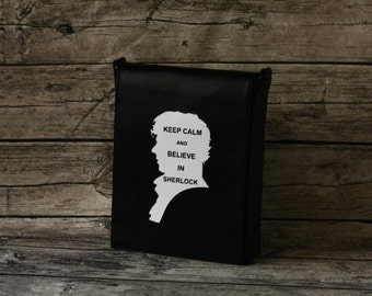 Sherlock Bag Black Leather Messenger Bag