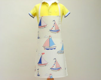 Toddler's Pvc Apron - Boats & Seagulls, Oilcloth Apron, Children's Apron, Waterproof Apron