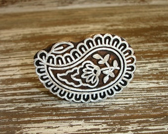Hand Carved Paisley Stamp: Flower Stamp, Indian Printing Block, Wooden Stamp from India, Mehndi Henna Tattoo Stamp, Textile Clay Pottery