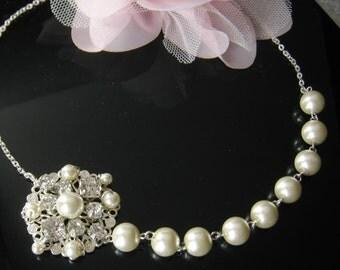 Rhinestone pearl necklace, bridesmaids necklace, bridal, wedding jewelry - W027