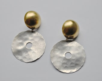 New York ROZ BALKIN Modernist Studio Artisan Sterling Silver and Gold Abstract Circle Earrings