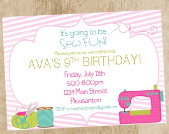 Sewing Party Invitation- Digital