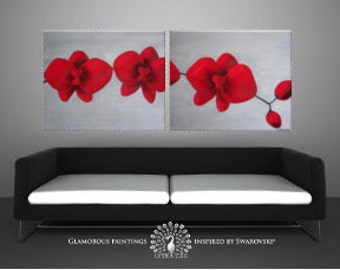 Red and grey painting MY PASSION + Swarovski® + red glitter. Red painting. Red orchids. Red orchid art. Red flowers. Red decor. Red wall art