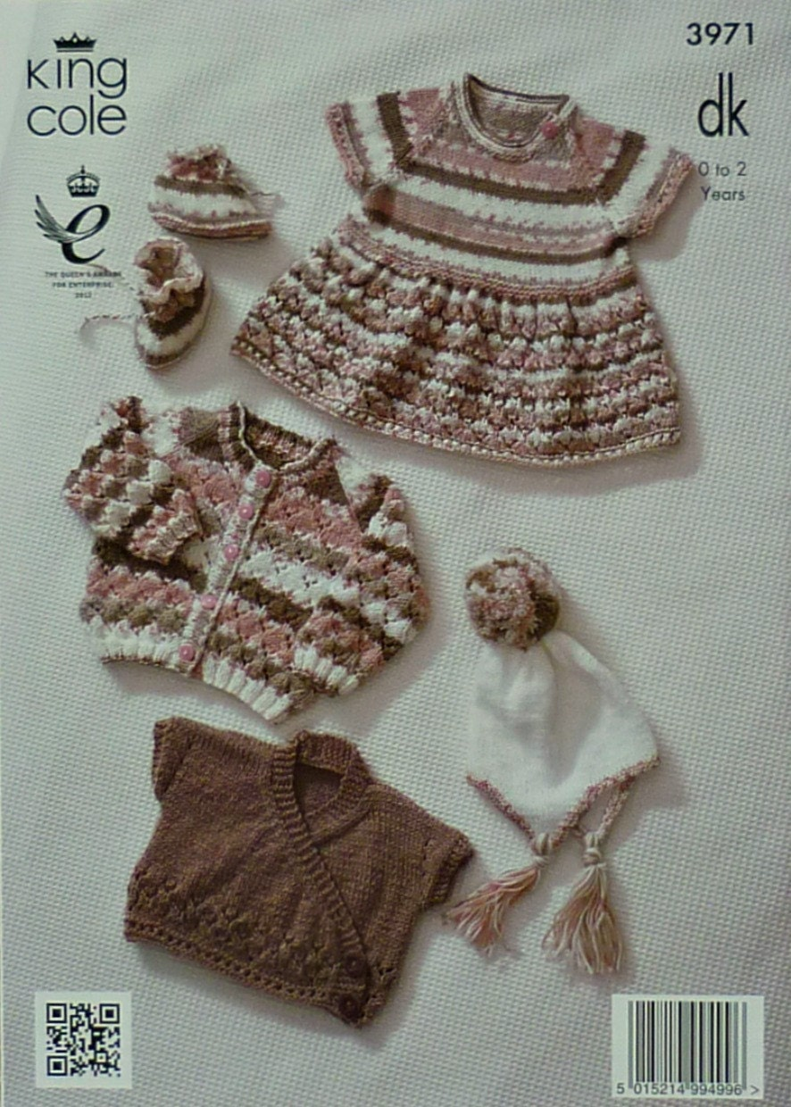 Baby Knitting Pattern K3971 Babies Short Sleeve Dress, Hat and Bootees Knitti...
