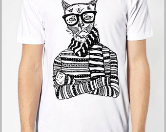 Funny Hipster Cat T shirt Unisex Men's Women's T shirt - American Apparel Tee Tshirt  9 COLORS Full Spectrum Apparel