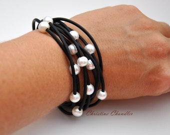Pearl and Leather Bracelet - Multi-Strand Black with White Pearls - Pearl and Leather Jewelry Collection