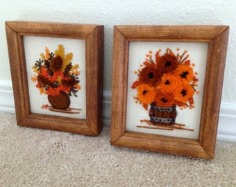 Set of 2 crewel embroidery 3D plant pictures flower arangements