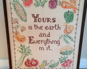 Vintage embroidery framed vegtables Yours is the earth and everything in it