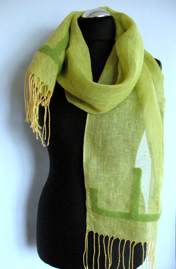 Linen Scarf  Felted Wool Green Shawl Scarf