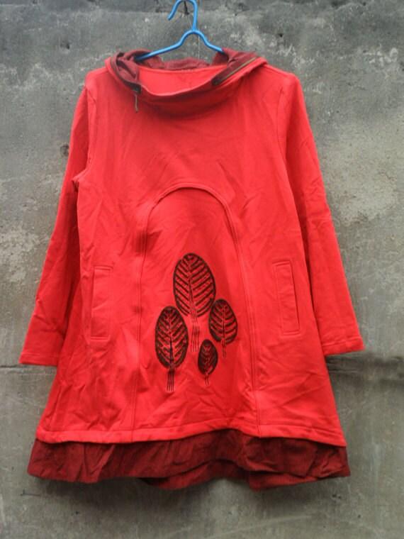 red dress hooded cotton Long sleeve dress