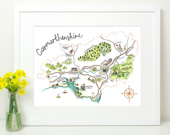 Carmarthenshire Map Print. Welsh Map Print. Carmarthen. Sir Gaerfyrddin. Hand painted illustrated map. Wales Welsh Cymru Map of Wales. 16x12