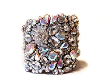 Stunning All Swarovski Aurora Borealis Old Hollywood Crystal Cuff Modern Classic, Vintage Yep All That and More