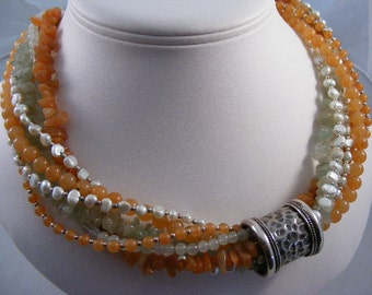 Vintage Aventurine Pearl Seven Strand Necklace with Sterling Silver..... Lot 3162