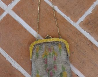 Vintage 1920's mesh purse handbag EVANS enamel frame womens Art Deco