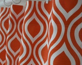 Pair of 25 inch wide Nicole Tangelo Orange Slub and White Curtains Drapery Panels 63, 84, 96, 108, 120