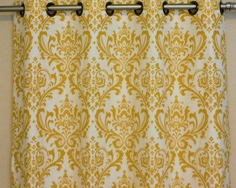 "Ready to Ship Yellow and White Damask Traditions - Brushed Steel Grommet Top Curtains 50""W x 84""L"