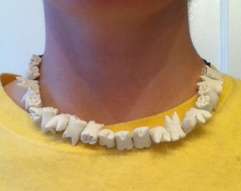 Small Human Teeth Necklace - Womens, grunge, halloween, horror, small