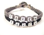 Taken Bracelets, Anniversary Gift, Custom Bracelet, Couples Bracelets, Black Grey Hemp Bracelets, Couples Gift, personalized Jewelry,