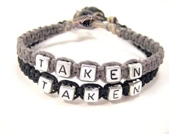 SALE Taken Bracelets, Anniversary Gift, Custom Bracelet, Couples Bracelets, Black Grey Hemp Bracelets, Couples Gift, personalized Jewelry,