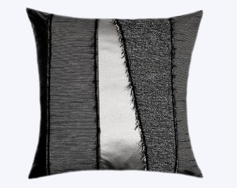 """Decorative Pillow Case, Grey fabric with Black and Silver faux Leather combination Throw pillow case, fits 18""""x18"""" insert, Toss pillow case"""