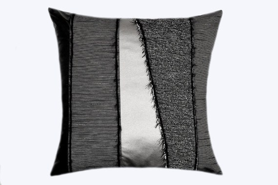 Black And Silver Decorative Pillows : Decorative Pillow Case Grey fabric with Black and Silver faux
