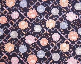 Tissu japonais motifs lapins fond géométrique fond bleu- 50 cm