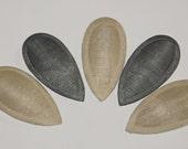 5 x  Teardrop Sinamay Fascinator Bases Ivory and Gunmetal Grey (FREE EU SHIPPING)