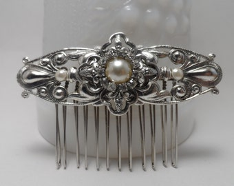 Art Deco Hair comb Art Nouveau inspired silver pearl comb wedding comb bridal comb hair accessories wedding accessories bridal accessories
