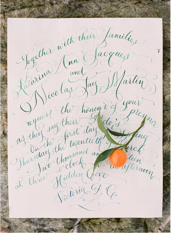 Hand Lettered Wedding Invitation Calligraphy By Hand