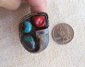 Navajo Zuni ring turquoise silver coral claw size 13.5 Navajo Native American sterling mens size HUGE