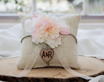 Pink blush Peony flower burlap personalized ring bearer pillow  shabby chic with engraved heart  initials... many more colors available
