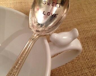 Hand Stamped Sugar Spoon, Sweet Love Stamped Spoon, Stamped Silver Sugar Spoon, Stamped Silverware