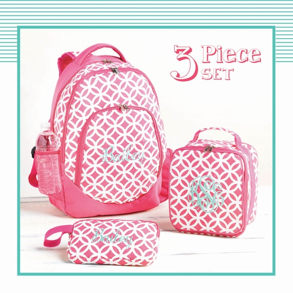 Monogrammed 3 piece backpack set for girls Monogrammed gift
