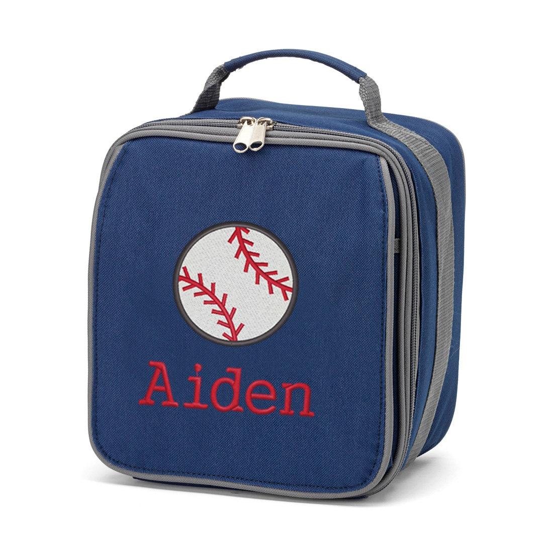personalized baseball lunch box for boys monogrammed baseball. Black Bedroom Furniture Sets. Home Design Ideas