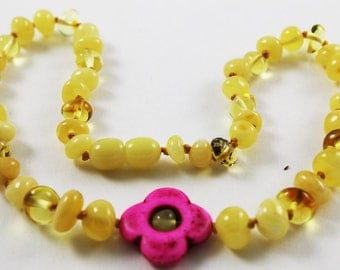 NATURAL BALTIC AMBER Unique Baby Teething Necklace with Flower Pendant