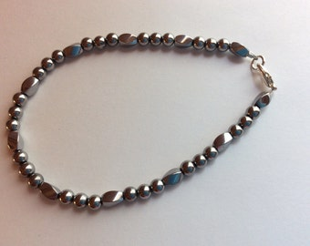 Magnetic Anklet Silver or Black Twist Bead