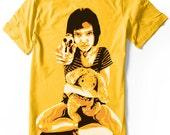 Mathilda - Léon The Profesional Tee Shirt Unisex Hand airbrushed with stencils Natalie Portman Girl with Gun tshirt