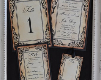 Black and Gold Shabby Chic Wedding Invitation Suite
