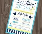 Nautical Invite, DIY, Printable Nautical invitation, Anchor Baby Shower invite, Whale Invitation