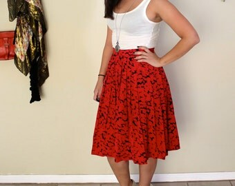 Red and Black Skirt Pleated Skirt